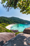 Beautiful tropical beach and blue sky background. Similan Island. Beautiful tropical beach and blue sky background. Seascape or Landscape at similan island Stock Images