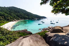 Beautiful tropical beach and blue sky background. Similan Island. Beautiful tropical beach and blue sky background. Seascape or Landscape at similan island Stock Photo