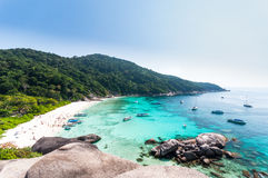 Beautiful tropical beach and blue sky background. Similan Island. Beautiful tropical beach and blue sky background. Seascape or Landscape at similan island Stock Photography