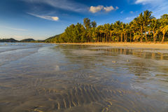 Beautiful tropical beach with coconut palms. Koh Chang. Royalty Free Stock Images