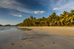 Beautiful tropical beach with coconut palms. Koh Chang. Royalty Free Stock Photography
