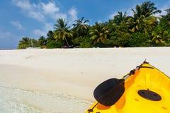 Beautiful tropical beach at exotic island in Maldives Royalty Free Stock Photos