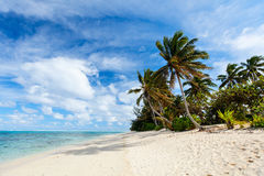 Beautiful tropical beach at exotic island in Pacific Royalty Free Stock Photos