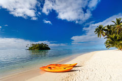Beautiful tropical beach at exotic island in Pacific Stock Photography