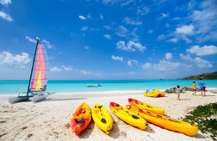 Beautiful tropical beach at exotic island Stock Images