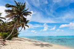 Beautiful tropical beach at exotic island in South Pacific Stock Photos