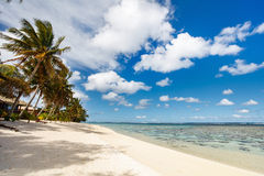 Beautiful tropical beach at exotic island in South Pacific Royalty Free Stock Images
