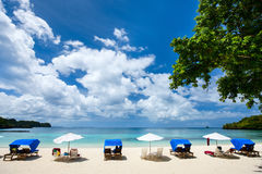 Beautiful tropical beach at exotic island Royalty Free Stock Photography