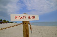 Sign for a private beach Stock Photography