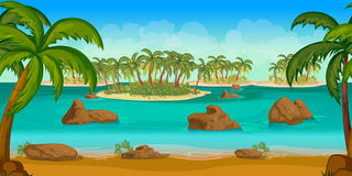 Beautiful tropical beach, Illustration of a cartoon summer ocean background with palm trees, coconuts, stones. Royalty Free Stock Photography
