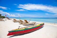 Beautiful tropical beach, Indonesia. Beautiful tropical beach on Gili island, Trawangan, Indonesia Stock Photos