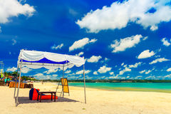 Beautiful tropical beach island bali with sandy beach and azure clean sea water on background scenery clear blue sky, Indonesia Royalty Free Stock Photography