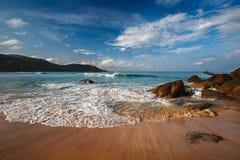 Beautiful tropical beach. On the island with waves, Phuket, Thailand Stock Photo