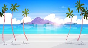 Beautiful Tropical Beach Landscape Summer Seaside With Palm Tree And Silhouette Mountains Exotic Paradise Poster. Flat Vector Illustration Stock Images