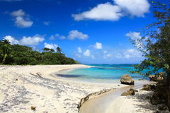 Beautiful tropical  beach Maguana,  Cuba. Small river on Beautiful tropical  beach Maguana, Guantanamo province, Cuba Royalty Free Stock Images
