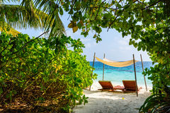 Beautiful tropical beach at Maldives Royalty Free Stock Photos