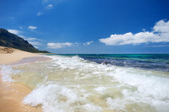 Beautiful tropical beach on Oahu island Stock Photos