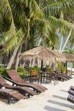 Beautiful tropical beach, palm tree and sunbeds in island Koh Phangan , Thailand. Beautiful tropical beach, coconut palm tree and sunbeds in island Koh Phangan Stock Photo