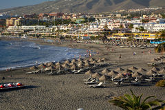 Beautiful tropical beach with palm tree. Tenerife.Canary Islands.Spain. Royalty Free Stock Photography