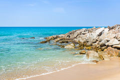 A beautiful tropical beach with palm trees. At Phuket island, Thailand Royalty Free Stock Image