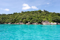 Beautiful tropical beach with sea view, clean water at Similan I Royalty Free Stock Image