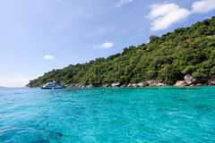 Beautiful tropical beach with sea view, clean water at Similan I Royalty Free Stock Photos