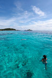 Beautiful tropical beach with sea view, clean water at Similan I Stock Photography