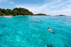 Beautiful tropical beach with sea view, clean water at Similan I Royalty Free Stock Photography