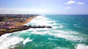 Beautiful tropical beach and sea waves in Nahariya, Israel. Aerial view royalty free stock photo