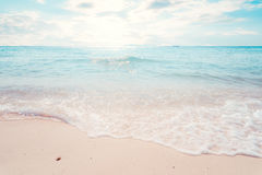 Beautiful tropical the beach seascape with sunlight in summer. Landscape of seaside stock photography