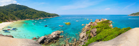 Beautiful Tropical Beach of the Similan Islands in Thailand. Clear, blue waters under a clear, blue sky on this beautiful, white-sand, tropical beach in the royalty free stock image