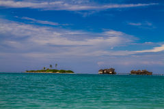 Beautiful tropical beach with water bungalows in Maldives Stock Photography