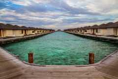 Beautiful tropical beach with water bungalows in Maldives Royalty Free Stock Image