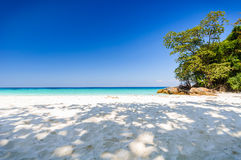 Beautiful tropical beach, white sand and blue sky background. Seascape or Landscape at similan island, andaman sea, pacific ocean Royalty Free Stock Photo
