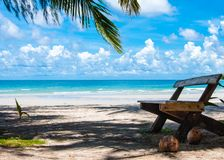 Beautiful tropical beach with white sand and blue waters Royalty Free Stock Photography