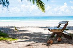Beautiful tropical beach with white sand and blue waters Stock Image
