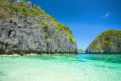 Beautiful tropical blue lagoon. Scenic landscape with sea bay and mountain islands, El Nido, Palawan, Philippines stock photography