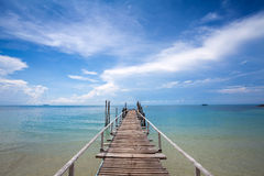 Beautiful tropical  Bridge on beach in Koh Samed Royalty Free Stock Photos