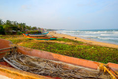 Beautiful tropical coast with fishing boats at Indian Ocean. Tam Royalty Free Stock Image