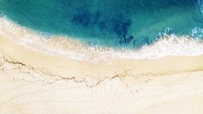 Beautiful tropical empty beach and sea waves. Aerial view. Beautiful tropical empty beach and sea waves. Aerial view royalty free stock photos