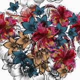 Beautiful tropical engraved hand drawn flowers. In vintage style Royalty Free Stock Photos