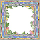Beautiful tropical floral border made of plumeria flowers and exotic leaves. Square frame with white background for a text. Watercolor painting. Hand painted royalty free illustration