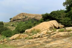 A beautiful tropical hill landscape of sittanavasal. Wonderful tropical hill landscape of sittanavasal cave temple complex. Sittanavasal is a small hamlet in Stock Photography