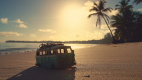 Beautiful tropical island beach sunrise and car miniature video.  stock video footage