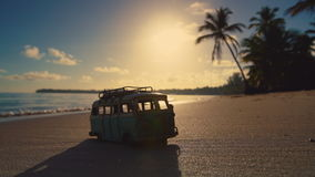 Beautiful tropical island beach sunrise and car miniature video. Punta Cana. Beautiful tropical island sunrise and car miniature video. Punta Cana beach stock footage