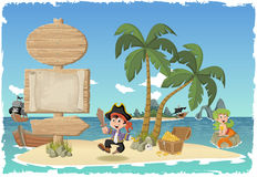 Beautiful tropical island with cartoon pirate boy. Stock Photos
