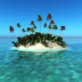 Beautiful tropical island, palm trees on an island. In the ocean royalty free stock photography