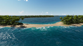 Beautiful tropical island in the turquoise sea Stock Images
