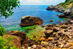 Beautiful tropical lagoon. With a rocky seashore Stock Photography