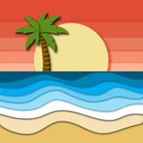 Beautiful tropical landscape with pink sky, sunset, plam tree on horizon and sea or ocean waves at sand beach. royalty free illustration
